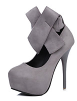 Women's Shoes Fleece Spring Fall Comfort Heels Stiletto Heel Round Toe Bowknot For Outdoor Office & Career Gray Black