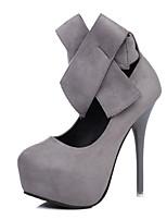 Femme Chaussures Laine synthétique Printemps Automne Confort Chaussures à Talons Talon Aiguille Bout rond Noeud Pour Noir Gris