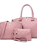 Women Bags All Seasons PU Bag Set Flower(s) Zipper for Formal Office & Career Blue Black Red Blushing Pink