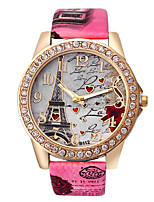 cheap -Women's Fashion Watch Quartz Rhinestone Imitation Diamond PU Band Heart shape Eiffel Tower White Blue Red Brown Grey Rose