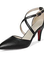 Women's Shoes PU Spring Fall Comfort Heels Stiletto Heel Pointed Toe Hollow-out For Outdoor Office & Career Red Silver Black Gold