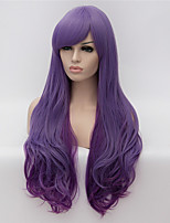 cheap -Synthetic Hair Wigs Curly With Bangs Capless Party Wig Natural Wigs Long Purple
