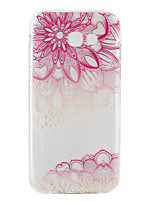 cheap -For Samsung Galaxy A3(2017) A5(2017) Ultra-thin Transparent Case Back Cover Case Diagonal pink Flower Soft TPU for  A5(2016) A3(2016)