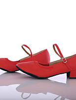 Da donna Danza moderna Finta pelle Sneaker Per interni Tacco su misura Rosso Personalizzabile