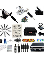 Complete Tattoo Kit 2 steel machine liner & shader 6 Tattoo Machines LCD power supply Inks Shipped Separately