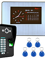 7 Lcd  Recording HD 1000TVL DVR Fingerprint Recognition Video Door Phone Intercom System kit