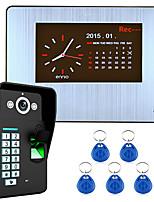 7 enregistrement lcd hd 1000tvl DVR kit de système d'interphone portier vidéo de reconnaissance d'empreintes digitales