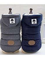 Недорогие -Собака Плащи Одежда для собак Контрастных цветов Темно-синий Серый Хлопок Костюм Назначение Зима Муж. Жен. На каждый день Спорт