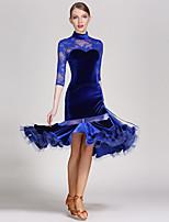 Latin Dance Outfits Women's Performance Lace Velvet Skirts Leotard