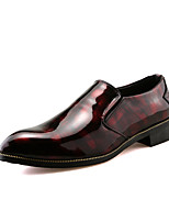 cheap -Men's Shoes Leatherette Spring Fall Comfort Loafers & Slip-Ons for Casual Black Red