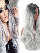 cheap -Sexy Beauty Black Gray Ombre Color Middle Parting Natural Wave Long Length Fashion Capless Wig Daily Hairstyle Heat Resistant Cheap High Qualtiy
