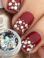1 bottle Mixed Size Fashion Silver Sparkling Round Paillette Nail Art Glitter Laser Paillette Decoration Nail Art Beauty DIY Slice Tip P36