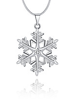Women's Snowflake Simple Basic Pendant Necklace Cubic Zirconia Copper Pendant Necklace , Christmas Daily