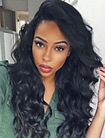 Women Human Hair Lace Wig Brazilian Human Hair 360 Frontal 150% Density With Baby Hair Natural Wave Body Wave Loose Wave Wig Black Black