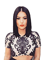 Women Synthetic Wig Capless Medium Length Straight Black Natural Hairline Middle Part Bob Haircut Party Wig Celebrity Wig Halloween Wig