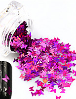 1Bottle Hot Fashion Sweet Style Glitter Rose Red Butterfly Paillette Nail Bling Decoration Beautiful Butterfly Design Nail DIY Sparkling Slice HD03