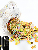 1Bottle Hot Fashion Sweet Style Glitter Laser Gold Butterfly Paillette Nail Bling Decoration Beautiful Butterfly Design Nail DIY Sparkling Slice HD01