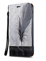 cheap -For Samsung Galaxy A7 A5 A3(2017) Case Cover Feathers Pattern 3D Painted Relief Super Strong Magnetic Adsorption PU Material Phone Case A5 A3(2016)
