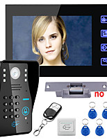 Touch Key 7 Lcd RFID Password Video Door Phone Intercom System Kit Electric Strike Lock Wireless Remote Control unlock