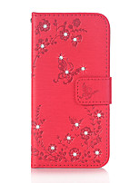 cheap -For Samsung Galaxy J3 (2016) J5 (2016) Case Cover Butterfly Love Flowers Pattern Embossed Point Drill PU Material Phone Case G530 G360