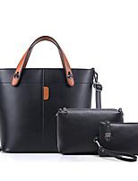 Women Bags All Seasons PU Bag Set Zipper for Casual Office & Career Black Red Gray Brown