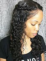 Недорогие -Remy Лента спереди Парик Волнистые 120% 130% плотность 100% ручная работа Парик в афро-американском стиле Природные волосы Короткие