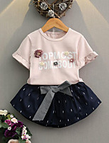 cheap -Girls' Daily Going out Striped Floral Clothing Set, Rayon Summer Short Sleeves Cute Street chic Blushing Pink