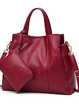 Women Bags All Seasons PU Bag Set Zipper for Casual Office & Career Black Red Gray