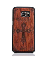 cheap -For Samsung Galaxy S7 S7edge Case Cover Bible Pattern Case Back Cover Case Hard Wooden and PC Material Combination