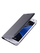 abordables -Funda Para Samsung Galaxy S7 edge S7 Soporte de Coche Flip Cuerpo Entero Color sólido Dura Cuero Sintético para S7 edge S7
