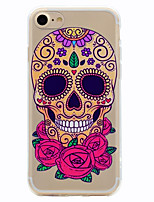 cheap -For iPhone X iPhone 8 Case Cover Transparent Pattern Back Cover Case Skull Soft TPU for Apple iPhone X iPhone 8 Plus iPhone 8 iPhone 7