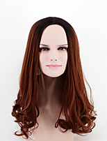 cheap -Fashion in the long black brown gradient side points Liu Haibo wave high temperature wire wig