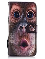cheap -For Samsung Galaxy  S8 Plus S8 Card Holder Wallet with Stand Flip Pattern Case Full Body Case Orangutans Hard PU Leather S7 edge S7 S6 S5