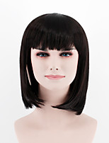 cheap -New fashion natural color black short paragraph Qi Liu straight hair high temperature wire wig