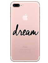 cheap -Case For Apple iPhone 7 Plus iPhone 7 Transparent Pattern Back Cover Word / Phrase Soft TPU for iPhone 7 Plus iPhone 7 iPhone 6s Plus