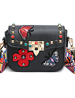 Women Bags PU Shoulder Bag Pattern / Print Zipper for Casual Outdoor All Seasons Black Red Blushing Pink Military Green Gray