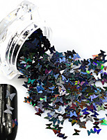 1Bottle Hot Fashion Sweet Style Glitter Laser Black Butterfly Paillette Nail DIY Bling Decoration Beautiful Butterfly Design Nail Sparkling Slice HD04