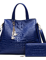 Women Bags All Seasons PU Bag Set Zipper for Casual Office & Career Blue White Black Red
