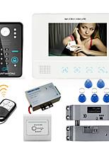 Mountainone 7 polegadas rfid senha vídeo porta telefone sistema de intercomunicador campainha câmera 1000tvl fechamento elétrico parafuso