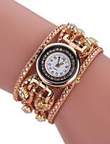 Mulheres Relógio Casual Bracele Relógio Simulado Diamante Relógio Chinês Quartzo imitação de diamante PU Banda Vintage Casual Boêmio