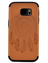 cheap -For Samsung Galaxy S8 Plus S7 Embossed Dream Catcher Pattern PU leather and Black TPU Combo Soft Phone Case S8