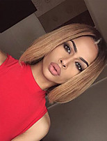 Sale Price Affordable  Medium Brown Ombre Blonde Virgin Silky Straight Hair Pixie Short Bob Cut Glueless Full Lace Human Hair Wigs With Baby Hair