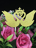 10pcs Crown Swan Wedding Cake Topper Wedding Decoration Paper Glitter Cake Topper Baby Shower Wedding Favor/Supplies