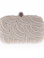 Women Bags All Seasons Polyester Evening Bag Pearl Detailing for Wedding Event/Party White Black Beige