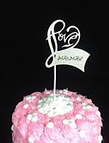 10pcs Love Heart Wedding Cake Topper Party Decoration Paper Glitter Cake Topper Wedding Decoration
