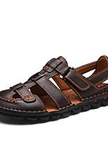 Для мужчин обувь Натуральная кожа Дерматин Весна Лето Удобная обувь Сандалии Назначение Повседневные Черный Темно-коричневый