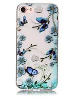 baratos -Capinha Para Apple iPhone X iPhone 8 Plus Estampada Com Relevo Capa traseira Borboleta Flor Macia TPU para iPhone X iPhone 8 Plus iPhone