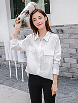 Women's Going out Street chic Spring Summer Shirt,Solid Shirt Collar Long Sleeves Cotton Thin