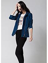 Giacca di jeans Da donna Per uscire Semplice Autunno,Tinta unita Bavero classico Cotone Standard Manica lunga