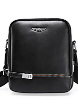 Men Bags All Seasons PU Shoulder Bag Zipper for Casual Office & Career Black Brown